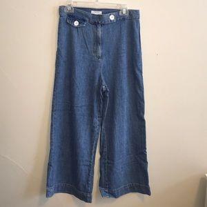 Zara Woman wide leg crop denim